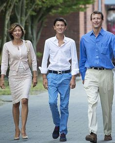princessofsuffolk: First day of boarding school for Prince Nikolai, accompanied by his parents Alexandra, Countess of Frederiksborg, and Prince Joachim, August 2014