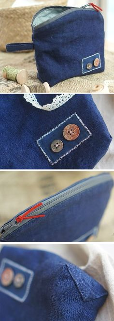 DIY Zipper Jeans Makeup Bag Tutorial.  http://www.handmadiya.com/2015/11/denim-makeup-bag-tutorial.html