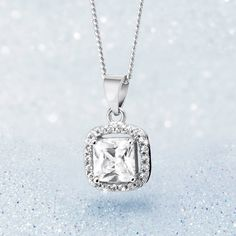Silver and Cubic Zirconia Pendant With Free Chain *Prices Valid Until 25 Dec 2013 -To match the ring me thinks Gold Jewelry, Fine Jewelry, Jewellery, My Christmas Wish List, Silver Rings, Pendant Necklace, Chain, Elegant, Diamond