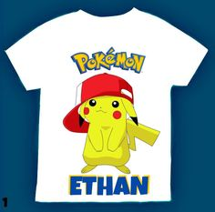 Pokemon Birthday boy Shirt, Personalized with child name and age. by FantasyKidsParty on Etsy https://www.etsy.com/listing/489257865/pokemon-birthday-boy-shirt-personalized