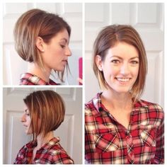 """If you're not ready to part with all your length, make it fresh by going with an asymmetrical bob. A little longer on one side than the other and bam, you've got a chic and simple short 'do without looking too """"mom."""""""