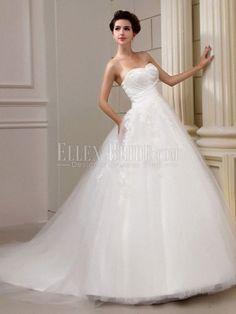 A-line Princess Sweetheart Cathedral Train Organza Wedding Dresses