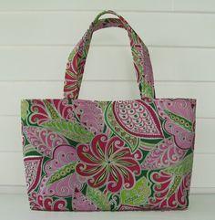 Medium handbag tote, rain forest print in pink and green, | DragonDesigns - Bags & Purses on ArtFire
