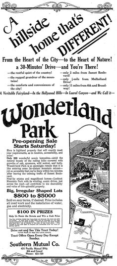 """LOOKOUT MOUNTAIN Housing Plots for sale, LA. """"The five winding roads that have been cut through the tract are still un-named. A cash prize of $ 20 each will be awarded for the best names suggested for these streets. Visit the tract, see these streets and drop your list of names in the box at the tract office..."""""""