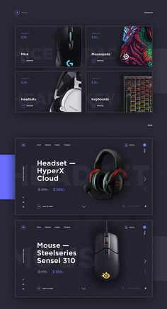 Task was simple for me: create modern and gaming feeling look of homepage Gaming-Gear WebShop. Mix of dark blue and purple, clear non-serif fonts let me achieved this I hope.It is a concept project. All images used in the presentation and design belong … Minimal Web Design, Web Ui Design, Web Design Trends, Page Design, Flat Design, Design Design, Design Ideas, Website Design Layout, Web Layout