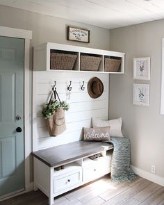 ad to snap a few pics of or mudroom/laundry room today as a bit of sun was shining in. This entire wall tree was a DIY and made from an Mudroom Laundry Room, Laundry Room Design, Home Renovation, Home Remodeling, Wythe Blue, Deco Studio, Media Unit, Hygge Home, Home Upgrades