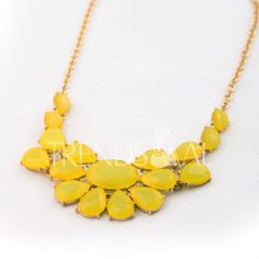 Fashion Candy Color Faux Gemstone Pendant Alloy Necklace For Women