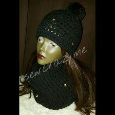 Crochet infinity scarf with pom pom hat with gold studs