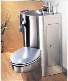 Gain d'espace assuré avec ce combiné toilette + lavabo http://www.neo-metro.com/toilets/neo-comby.html