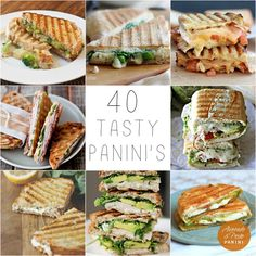 40 Tasty Panini Ideas, great for lunches! From a classic tomato and mozzarella to pesto and chicken theres something bound to tickle your taste buds! Sandwich Maker Recipes, Soup And Sandwich, Best Panini Recipes, Yummy Recipes, Yummy Food, Healthy Recipes, Tasty, Panini Sandwiches, Grilled Sandwich