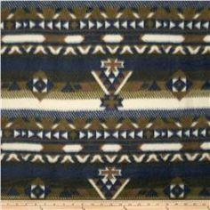 Printed Fleece Aztec Navy/Olive Green