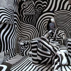 Model feebee poses as part of an art installation Dazzle room made by artist Shigeki Matsuyama at Room 32 fashion and design exhibition in Tokyo. Matsuyamas installation features a strong contrast of black and white which he learned from dazzle camouflage used mainly in World War I in Tokyo. #APPhoto by @shuj1kaj1yama  #Japan #Tokyo #DazzleRoom #Room32 #artinstallation #graphic #blackandwhite #ShigekiMatsuyama #ShujiKajiyama #AssociatedPress #APImages #photojournalism #photography by…