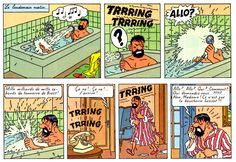 Captain Haddock in the bath • Tintin, Herge j'aime