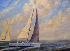 Sailboat Oil Painting Prints Artwork Coastal