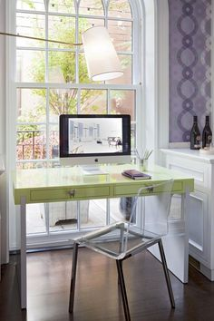 Amazing Decorating With Lavender Color Walls : Interesting Decorating With  Lavender Color Walls With Lamp Glass Chair Green Table Mac Computer Bottle  And ...