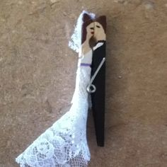 Bride and Groom clothes pin I made