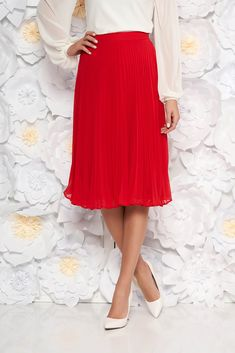 StarShinerS red elegant cloche skirt with medium waist voile fabric folded up, inside lining, voile fabric, folded up, side zip fastening
