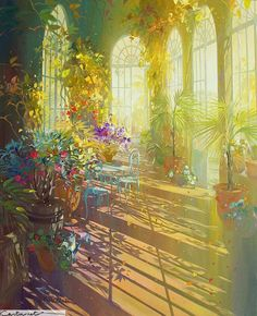A grand room lit by the sunlight shining through huge arched windows. The plants shimmer and bathe in contentment. Magic created by the artist Laurent Parcelier. Fantasy Landscape, Fantasy Art, Environment Concept Art, Beautiful Paintings, French Paintings, Aesthetic Art, Cute Art, Painting & Drawing, Watercolor Art
