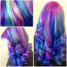 Pink purple blue dyed hair
