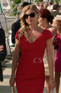 """Emily VanCamp proved that her fashion style is red hot in this Prada V Neck Dress on last night's episode of Revenge Season 2 Episode 1 """"Destiny."""""""