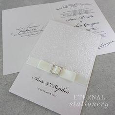 Royal embossed Wedding Invitation Created by Eternal Stationery www.eternalstationery.com.au