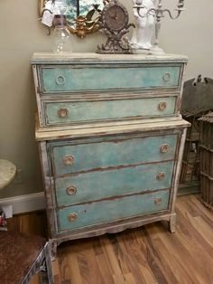 turquoise cabinets kitchen distressed side table using white ash by farmhouse paint 2966