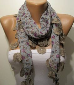 I like the idea--Green and Lilac  Flowered Shawl / Scarf with Lace by SwedishShop, $13.90