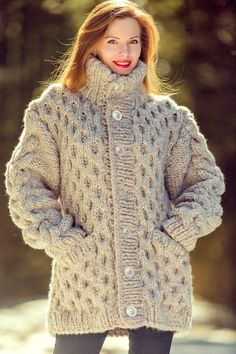NEW beige wool jacket thick mohair sweater cardigan honeycomb pattern coat  3 KG 373dc7b8c9