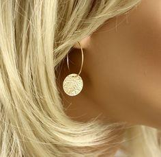 Gold Earrings Hoop Earrings Dangle Earrings with textured