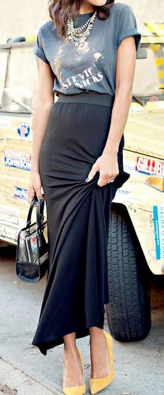 Maxi skirt + graphic tee.