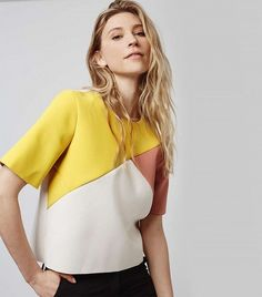 Topshop Asymmetrical Colorblock Top available at Fashion Outfits, Womens Fashion, Fashion Trends, Look Chic, Blouse Styles, Color Blocking, Colour Block, Fashion Details, Mantel
