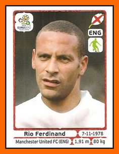 Rio Ferdinand of England. Manchester United Premier League, Manchester United Soccer, Rio Ferdinand, Football Cards, Football Team, Club World Cup, Euro 2012, England Football, America's Cup