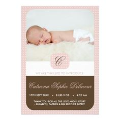 Pink and Brown Monogram Photo Birth Announcement