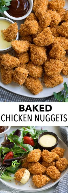 Chicken Nuggets (Oven Baked) - Cooking Classy Homemade Chicken Nuggets – made with real ingredients! These are oven baked instead of fried so t Fried Chicken Nuggets, Healthy Chicken Nuggets, Homemade Chicken Nuggets, Crispy Chicken, Oven Baked Chicken Tenders, Healthy Options, Healthy Recipes, Keto Recipes, Nuggets Recipe