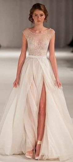 Sexy Bridal Gown 2015 Illusion Cap Sleeve Appliques Sash Side Slit Tulle Floor Length Zipper Wedding Dresses