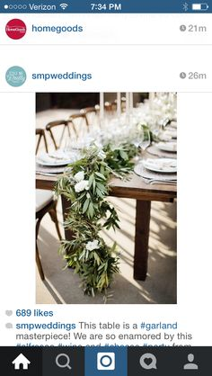 This is my favorite example of a garland for the head table. I like the little bit of white and the contrast of the garland on the wood table, since I want that natural look too (no runner underneath) Also love the long candles with it