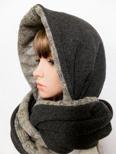 Wool hood beige grey women hooded scarf chunky winter by Jousilook
