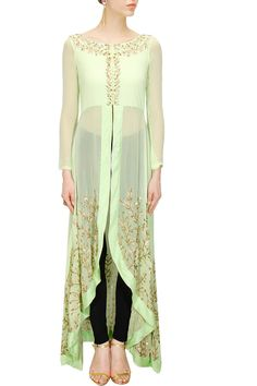 Mint green embroidered high-low jacket available only at Pernia's Pop-Up Shop.