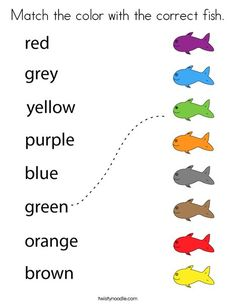 Match the color with the correct fish Coloring Page - Twisty Noodle Color Worksheets For Preschool, English Activities For Kids, Learning English For Kids, English Worksheets For Kids, Free Kindergarten Worksheets, English Lessons For Kids, Kids English, Kindergarten Learning, Preschool Learning Activities