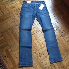 """Straight Leg Jeans 7 For All Mankind NWT Light wash, blue denim. Size 24. Zipper front, 5 pockets. 34"""" inseam. Please ask if you have questions. 7 for all Mankind Jeans Straight Leg"""