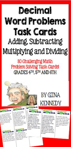 A set of 30 task cards to provide your students with additional practice with multiplying, dividing, adding and subtracting decimals in challenging word problems. This would be an excellent way to review for a test or to check for understanding. Great for your advanced math learners, early finishers or whole class fun. $
