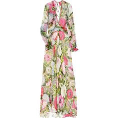 Paul & Joe Osmose floral-print silk-chiffon gown || Multicolored floral-print silk-chiffon gown. Paul & Joe gown has a low V-neck, a sheer bodice, an open back, loose long sleeves with elasticated cuffs, a semi-sheer skirt, self ties at back of neck and waist, and is partially lined. 100% silk.