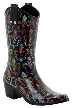 Beehive Rain Bops Ladies Black Multi Colored Fleur De Lis Cowgirl Rain Boots