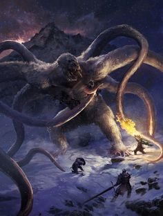 """For Ned Turner's DMs Guild D&D supplement Elemental Compendium I: Creatures of the Inner Planes, I redesigned the Dungeons and Dragons creature Cryonax, """"The Prince of Evil Cold Creatures"""" Monster Concept Art, Fantasy Monster, Monster Art, Dark Creatures, Mythical Creatures Art, Fantasy Creatures, Dark Fantasy Art, Fantasy Concept Art, Creature Concept Art"""