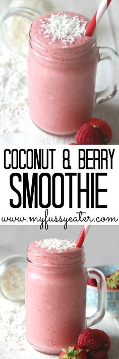 A delicious and refreshing recipe for a vegan Coconut & Berry Smoothie made with coconut milk, coconut water, frozen banana and berries.