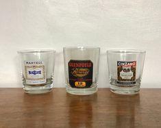Three Retro Spirit Glasses. Vintage Alcohol Advertising. Cinzano,Martell Cognac & Glenfoyle Whisky. 1970's/80's. Spirit Glasses, Pint Glass, Whisky, Advertising, Alcohol, Retro, Tableware, Vintage, Products