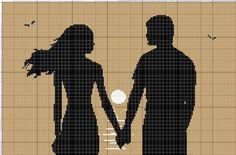 Couple silhouette x-stitch Cross Stitch Love, Cross Stitch Pictures, Wedding Cross Stitch Patterns, Cross Stitch Designs, Cross Stitching, Cross Stitch Embroidery, Cross Stitch Silhouette, Pix Art, C2c