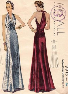 1930s USA Mc Calls deco vintage long glamorous evening dress sewing pattern 9919 #McCalls.   I really want one of these!