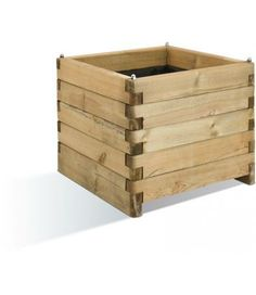 Sandford Planter (60 litres) - This cleverly designed rectangular planter is made from interlocking blocks of pine, taking advantage of the natural variations in the wood to create a great two-tone effect. Really effective when used in groups of two or more. (H:500mm W:600mm D:600mm)