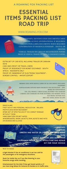 Road Trip Essentials Packing List Infographic #list #infographic #essentialitems #packinglist #roadtrip #roadtrippackinglist Road Trip Packing List, Road Trip Essentials, Road Trip Hacks, Road Trips, Africa Travel, Travel Goals, What You Can Do, Amazing Destinations, Family Travel